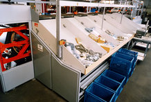 Transverse sorting equipment in a department store (Energy Supply to the sorter)
