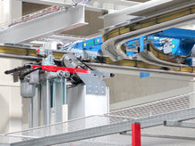 High dynamic Electrified Monorail System in production and single component warehouse